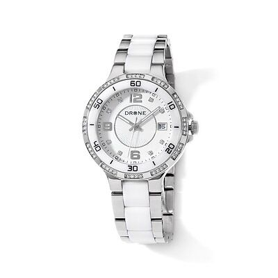 DRONE PRECISION TIMEPIECES CERAMIC WHITE DIAL STAINLESS STEEL WATCH HSN $175 ()
