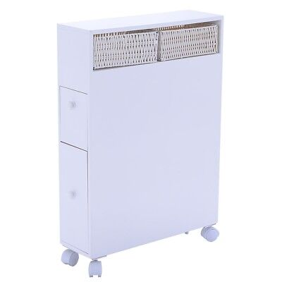 (Narrow Storage Cabinet White Wood Organizer Drawers Shelves Baskets Bathroom )