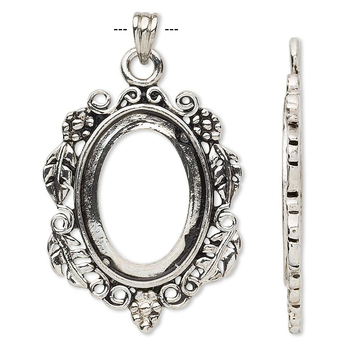 Antiqued Silver Plated Brass Pendant Setting for 25x18mm Oval Cabochon or Cameo