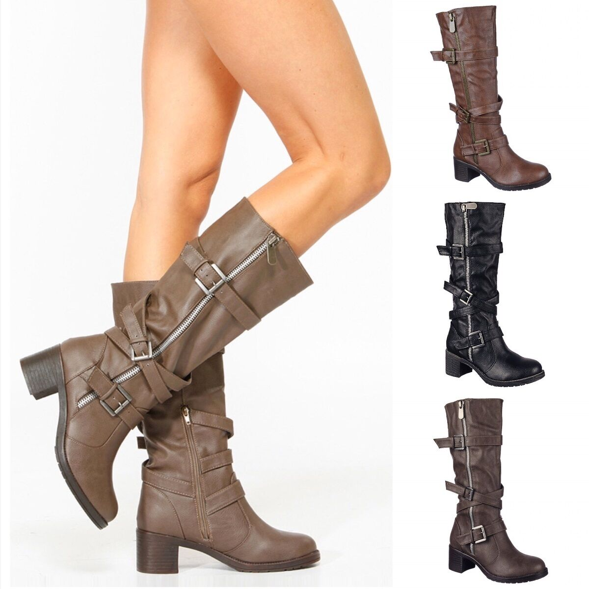 Women's Knee high Mid calf Buckle Riding Combat Military Boo