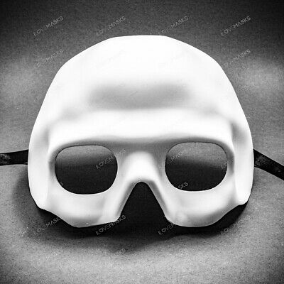 White Skull Half Face Head Piece Masks - Halloween Party Costume Prop DIY