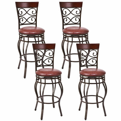 - Set of 4 Vintage Bar Stools Swivel Padded Seat Bistro Dining Kitchen Pub Chair