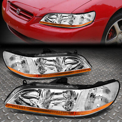 FOR 1998 2002 HONDA ACCORD PAIR CHROME HOUSING AMBER CORNER HEADLIGHTLAMP SET