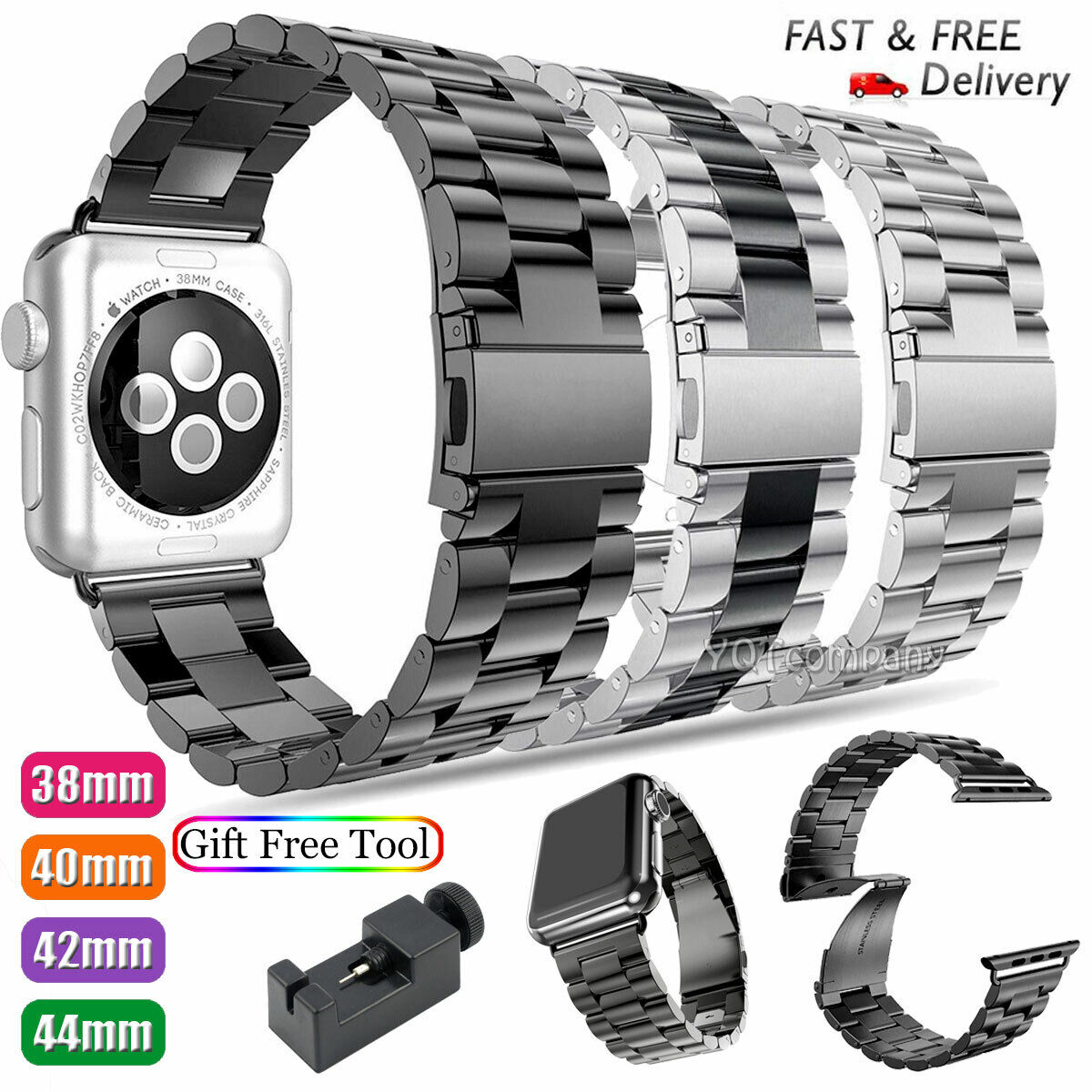 For Apple Watch Series 5 4 3 2 Bracelet Strap Stainless Stee