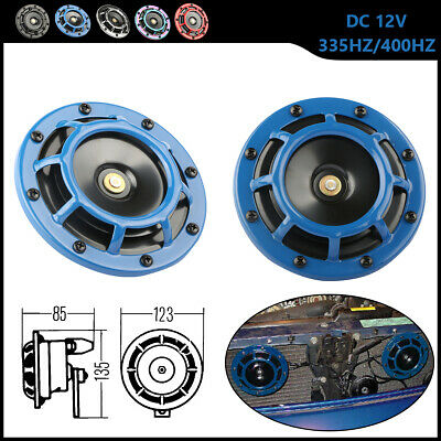 Blue Electric Compact Car Horn Super Loud Blast Tone Grill-Mount 12V -