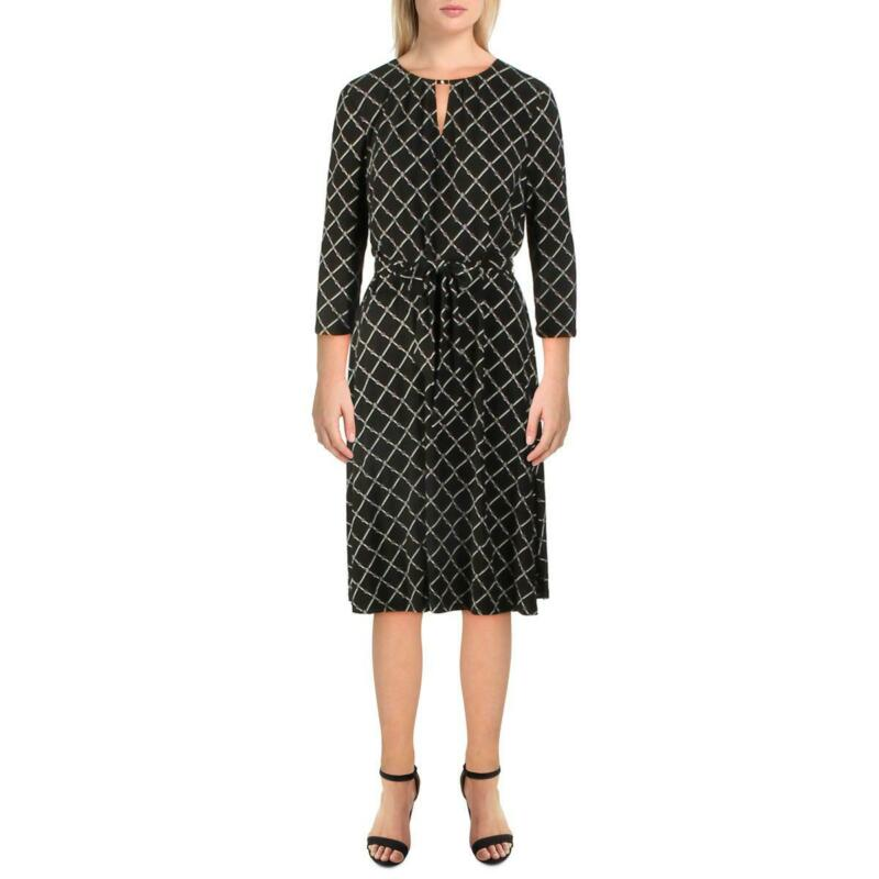 Lauren Ralph Lauren Womens Printed Belted Business Midi Dress BHFO 0916