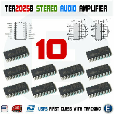10pcs Tea2025b New St Integrated Circuit Audio Amplifier Tea2025 Dip-16