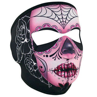 Sugar Skull Scary Day of the Dead Neoprene Reversable Motorcycle Ski Face - Scary Sugar Skull