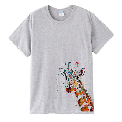 Giraffe Animal Print T-Shirt Summer Fashion Top Tee For Mens Womens Plus Size Giraffe Print Fashion
