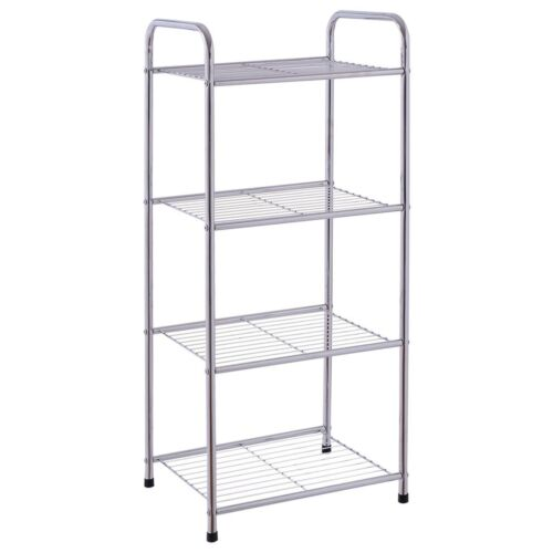 4 Tiers Shelf Storage Free Standing Steel Wire Shelves Rack