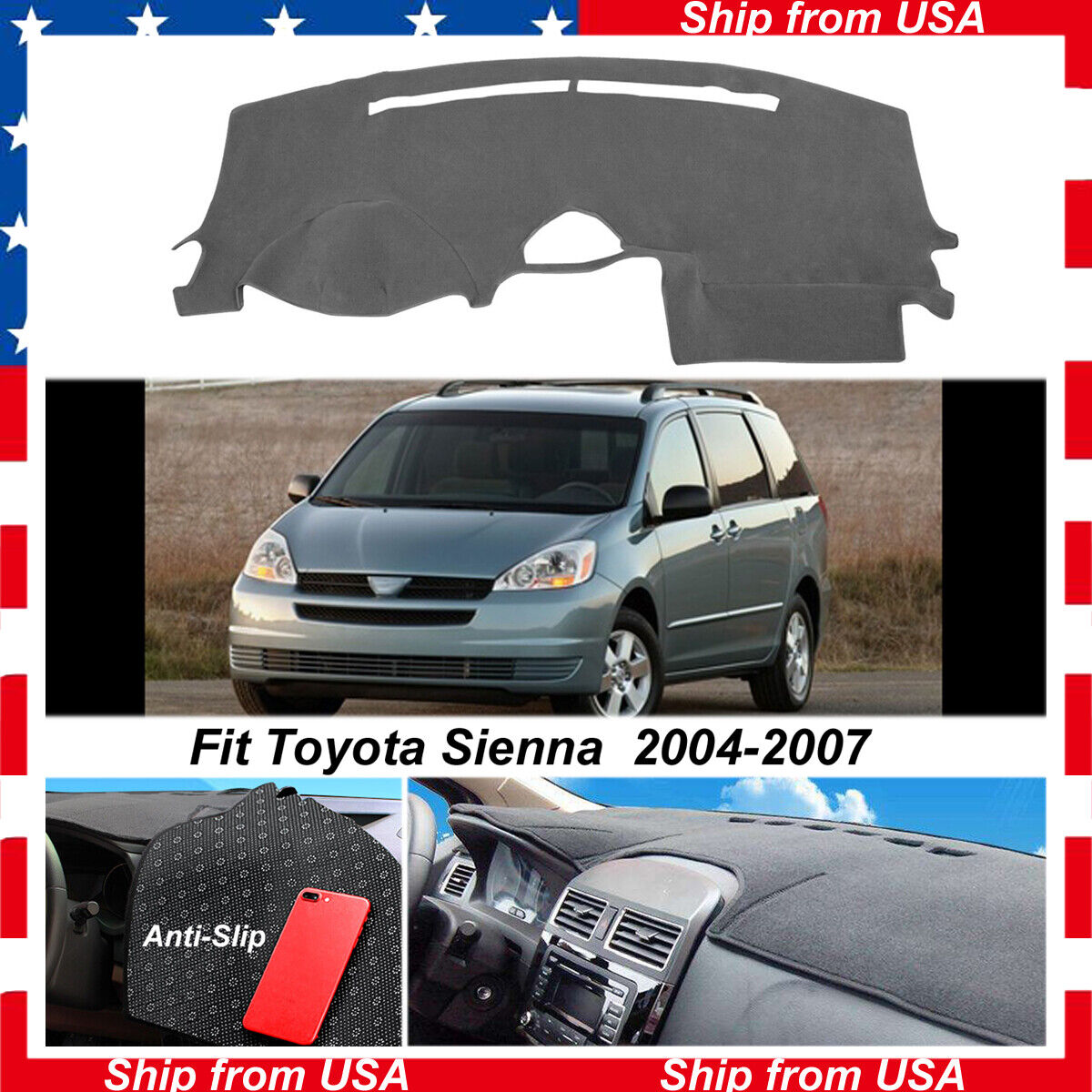 Black Non-Slip Dash Mat Dash Cover For Toyota Sienna 2004-2007 Dashboard Carpet