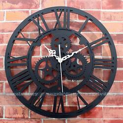 Large Vintage Gear Wall Clock Mute Clock Handmade Rustic Art Home Antique Decor