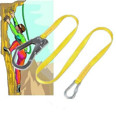 22kn Climbing Safety Harness Belt Strap Lanyard Kit Flipline Steel Carabiner