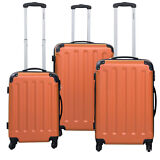 GLOBALWAY 3 Pcs Luggage Travel Set Bag ABS+PC Trolley Suitcase Orange