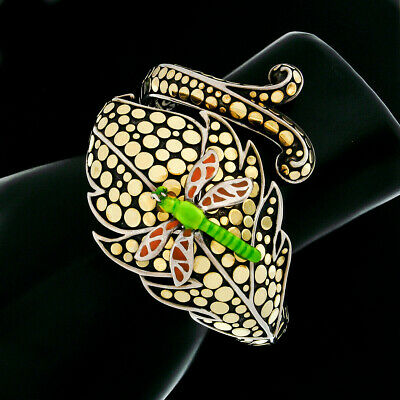 John Hardy Dot Silver & 18k Gold Leaf & Enamel Dragonfly Hinged Bangle Bracelet