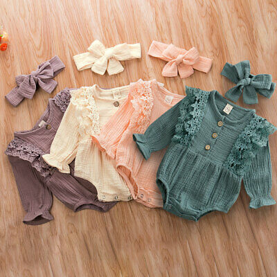 US Newborn Baby Girl Ruffle Long Sleeve Romper Jumpsuit Headband Outfit Clothes
