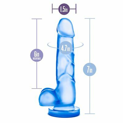 Realistic Jelly G-spot Anal Dildo Dong Cock with Balls Hands Free Suction Cup