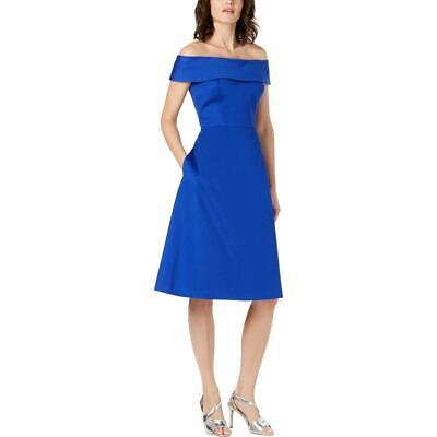Calvin Klein Womens Fit & Flare Off The Shoulder Party Cocktail Dress BHFO (Off The Shoulder Fit And Flare Cocktail Dress)