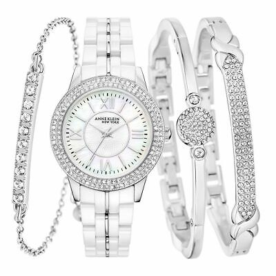 Anne Klein New York 12/2299SVST SS Ceramic White Watch & 3 Bangle Set #B72 (1368