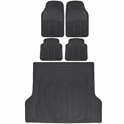 Rubber Car Floor Mats 5 PC Black Front Rear and Cargo Trunk Liner Auto Truck SUV (Cargo Liner Car Truck Suv)