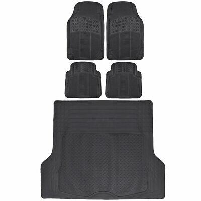 Rubber Car Floor Mats 5 PC Black Front Rear and Cargo Trunk Liner Auto Truck - Auto Truck Car Floor Mats