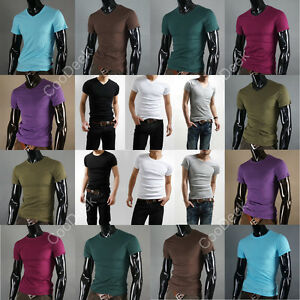 NEW-Men-Slim-Fit-V-Crew-Neck-Collar-Short-Sleeves-T-shirts-Basic-Tee-Shirts