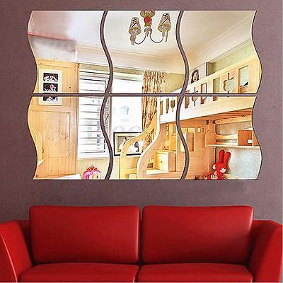 6pcs 3D DIY Removable Serene Room Wall Mirror Sticker Art Vinyl Mural Decor Decal
