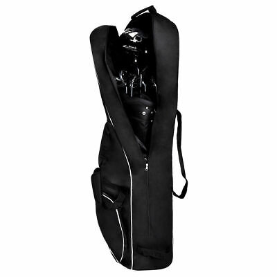 Black Foldable Golf Bag Travel Cover with Wheel Lightweight (Golf Bags Wheels)