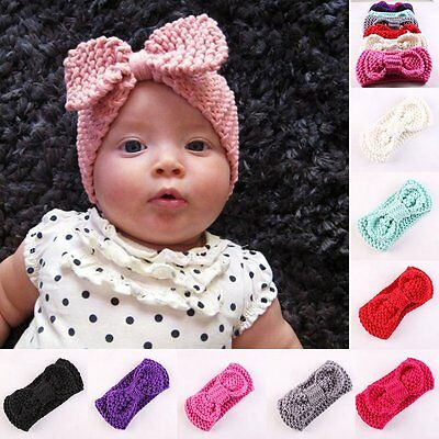 Kids Girl Baby Toddler Knitted Crochet Turban Headband Hair Bow Band Accessories