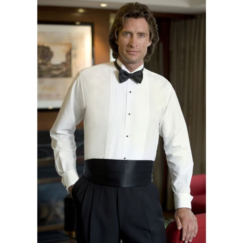 Used White Wing Collar Tuxedo Pleated front Tux Shirt Pleats all sizes TUXXMAN
