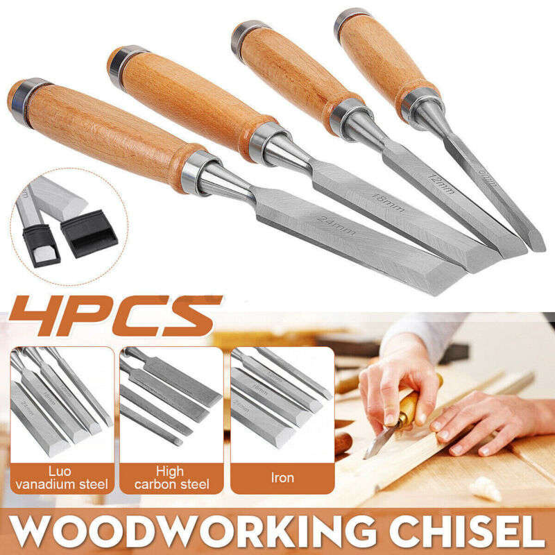 4Pcs Carving Kit Wood Gouge Chisel Woodworking Tools Handle Hand 6/12/18/24mm