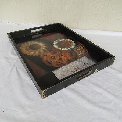 Großes Tablett Aus Holz (altes großes Tablett aus  Holz mit Konditorei Kuchen / Torten Motiven )