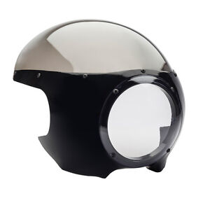Black Front Fairing & Windscreen Cowl SMOKED SCREEN Cafe Racer Drag Racing Viper