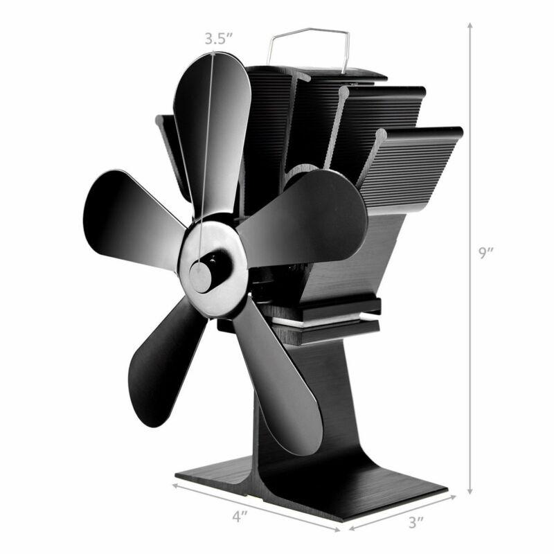 Stove Fan 5 Blades Fuel Saving Heat Powered For Wood Burner Fireplace Eco w/ USB