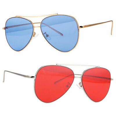 Classic Aviator Sunglasses New Red Blue Tinted Lens Silver All Metal Frame (Red Tinted Sunglasses Men)