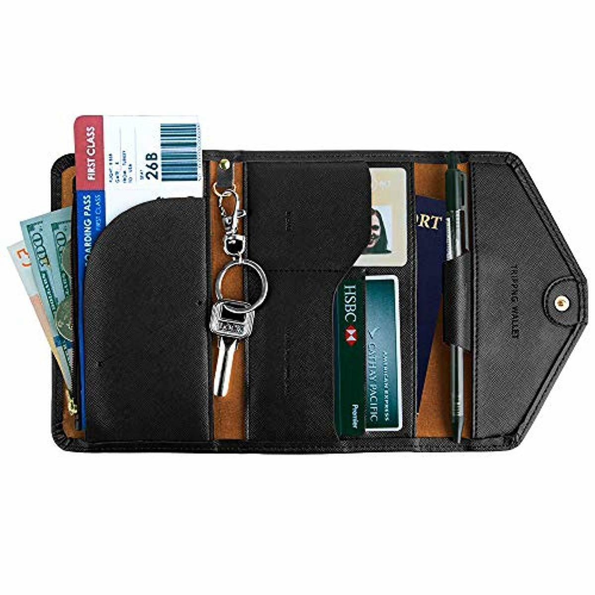 Details about Travel Passport Holder Security Neck Stash Pouch Wallet with  RFID Blocking