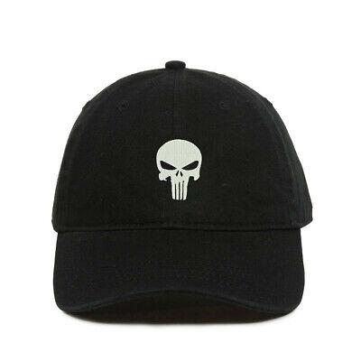 Punisher Skull Baseball Cap, Embroidered Dad Hat, Unstructured Six Panel, Adjust