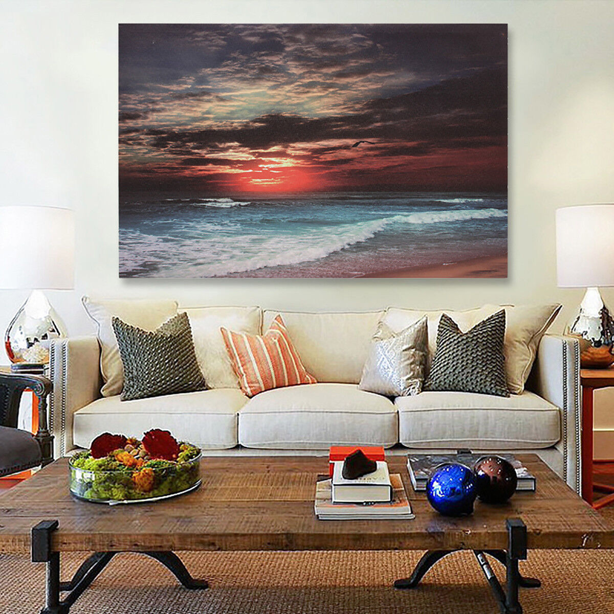Купить Unbranded - Framed Sunset Beach Sea Modern Canvas Art Painting Print Wall Picture Home