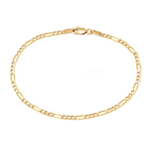 14K Yellow Gold 2.5mm Figaro Link Chain Anklet - 10 inch- Made In Italy