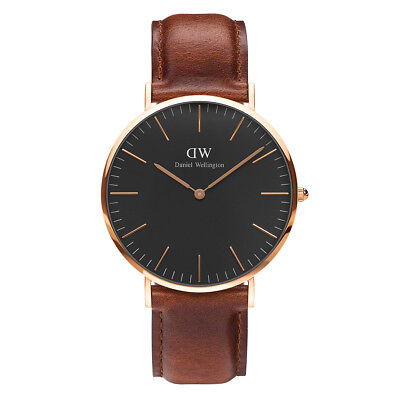 Daniel Wellington Classic Rose Gold Black Face Sheffield Brown Leather 40mm