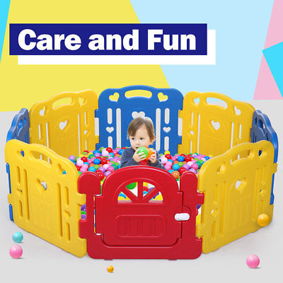 8 Panel Baby Playpen Safety Play Center Yard Kids Home Indoor Outdoor Play Pens