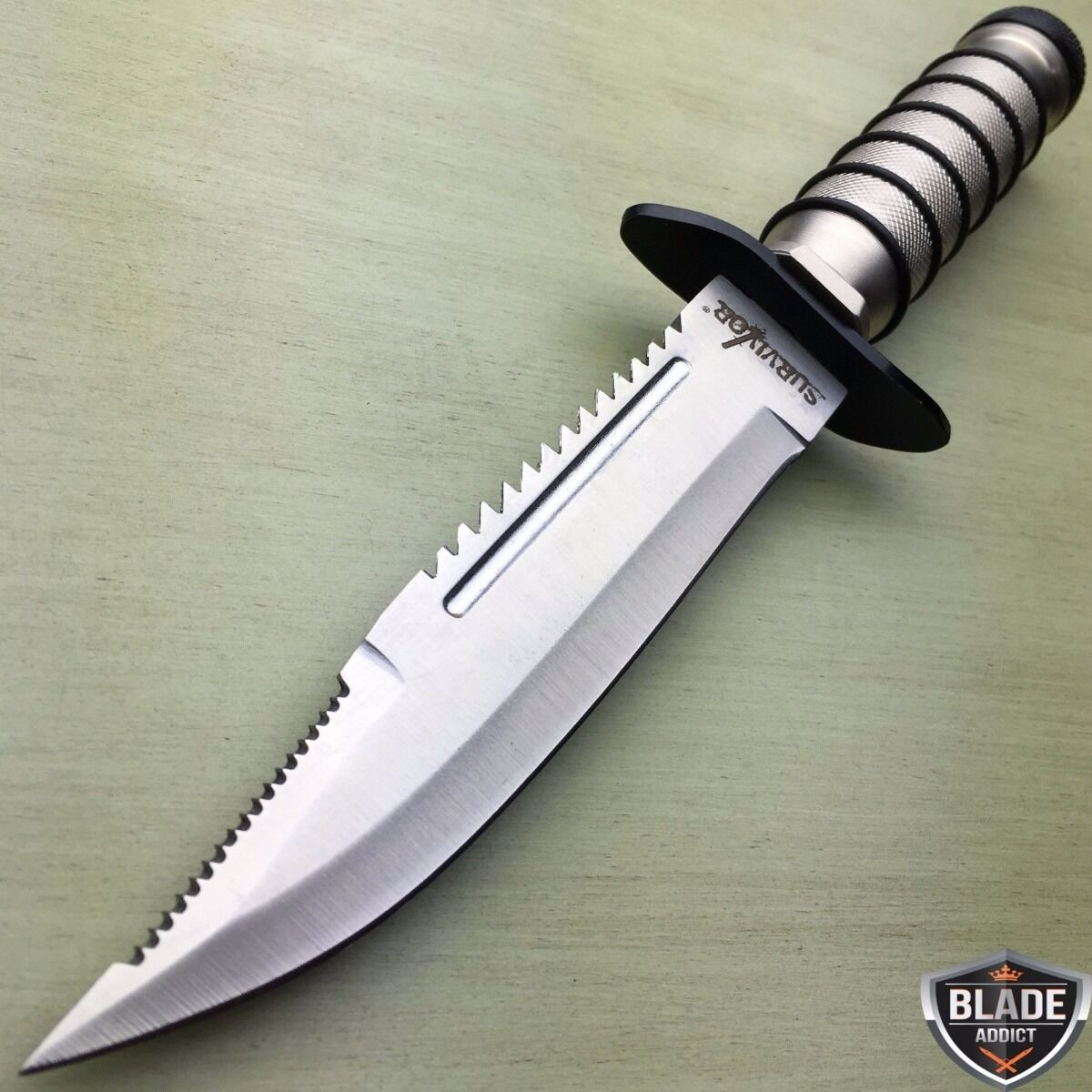 """10"""" TACTICAL SURVIVAL Rambo Hunting FIXED BLADE KNIFE Army Bowie w/ SHEATH"""