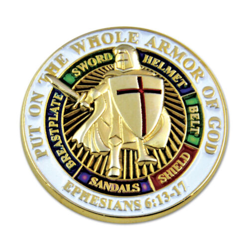 Knights Templar Put on the Whole Armor of God Round Masonic Lapel Pin
