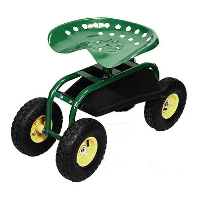 Green Garden Cart Rolling Work Seat With Heavy Duty Tool Tray Gardening Planting