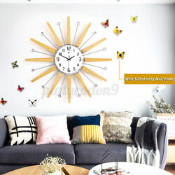 Large Wall Clock Wood Metal Crystal Luxury Big Watch +3D Butterfly Sticker Decor
