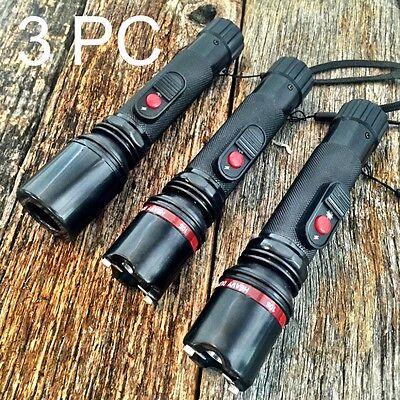 3LOT BLACK Stun Gun 10 Million Volt Rechargeable NIB LED Flashlight CH49-BK-3-S