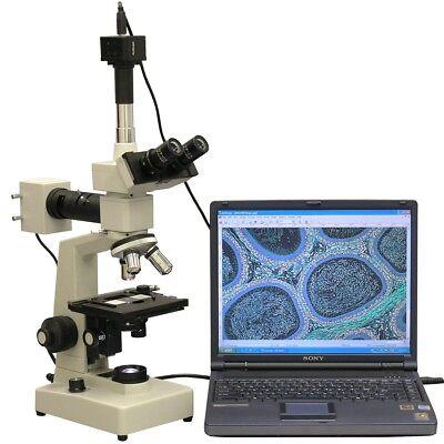 Amscope 40x-2000x Two Light Metallurgical Microscope 5mp Camera