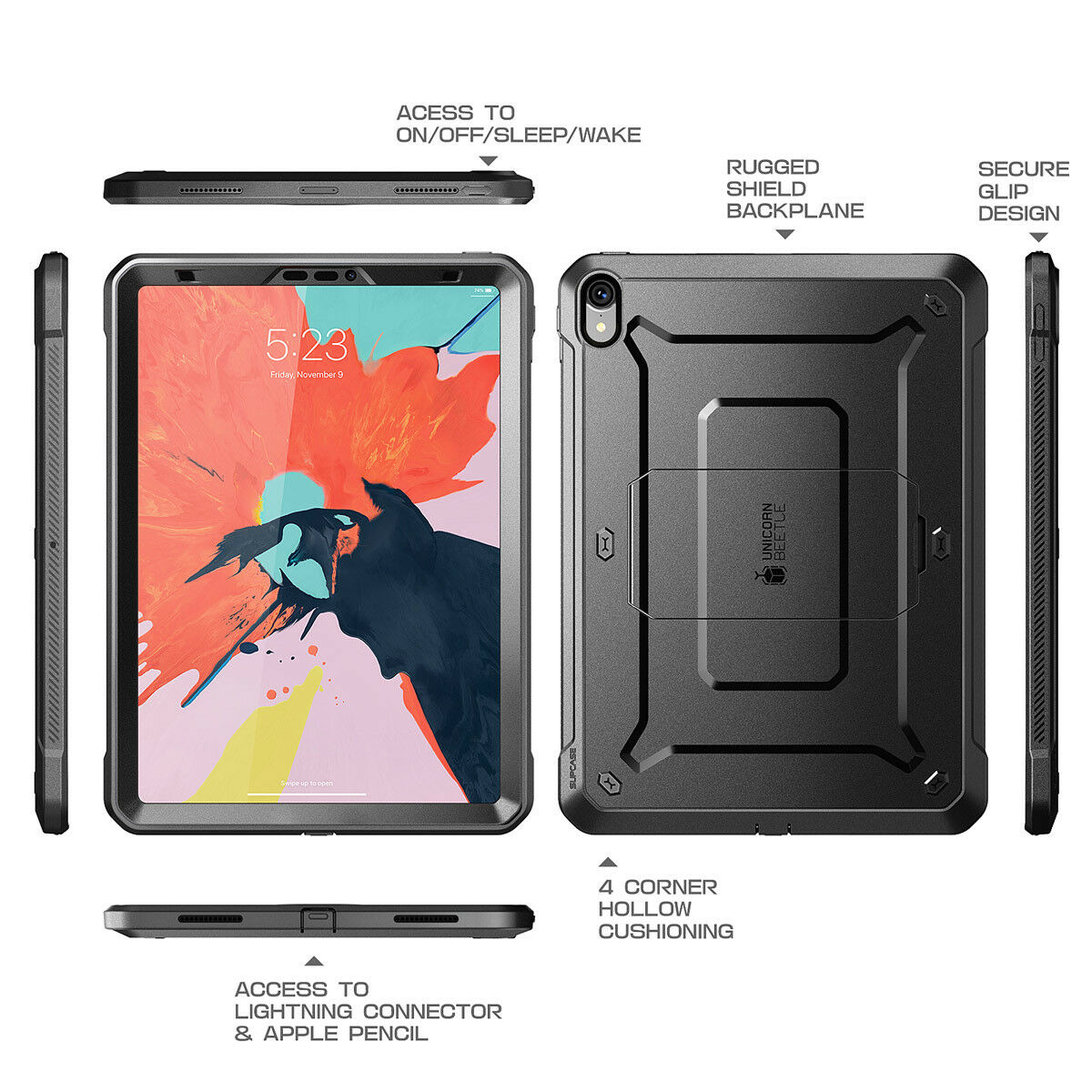 finest selection 89a21 a057d Details about For iPad Pro 12.9 Case 2018, SUPCASE Full-Body Protective  Case+Screen Protector
