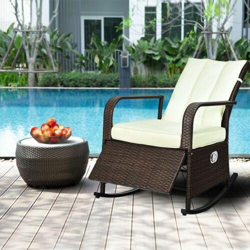Patio Wicker Porch Garden Lawn Reclining Rocking Chair Deck
