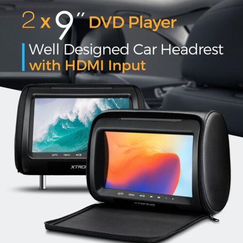 "2X Black 9"" HD Car Headrest Video Game Rear Seat Monitor DVD Player IR HDMI USB"